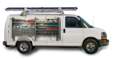 Cargo van equipment with ladder racks.